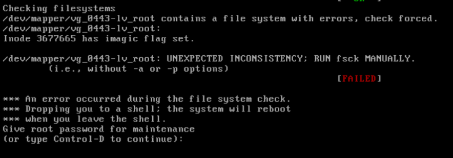 Unexpected inconsistency run fsck manually linux