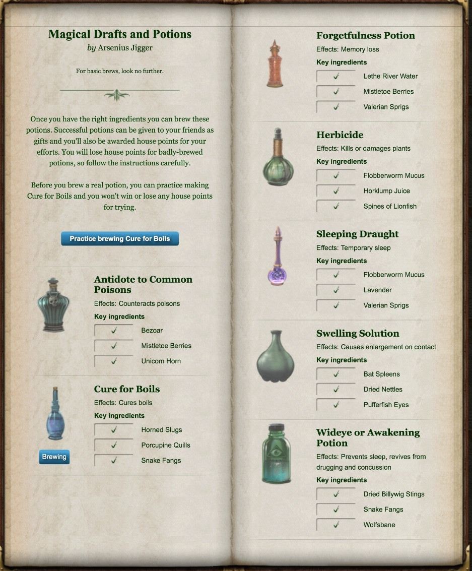 harry potter potion instructions