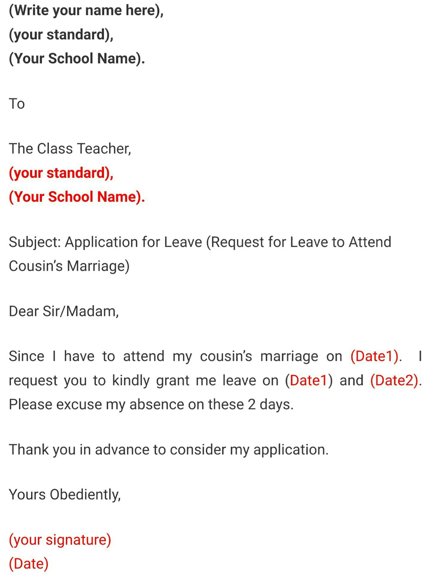 Leave application for cousin sister marriage for school