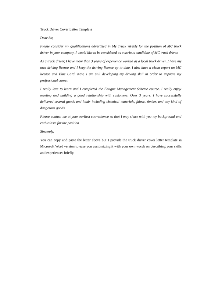 Cover letter for driving job application